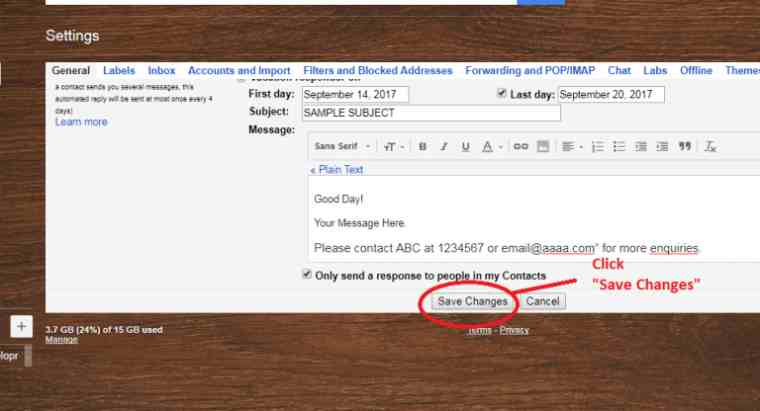 save changes - gmail