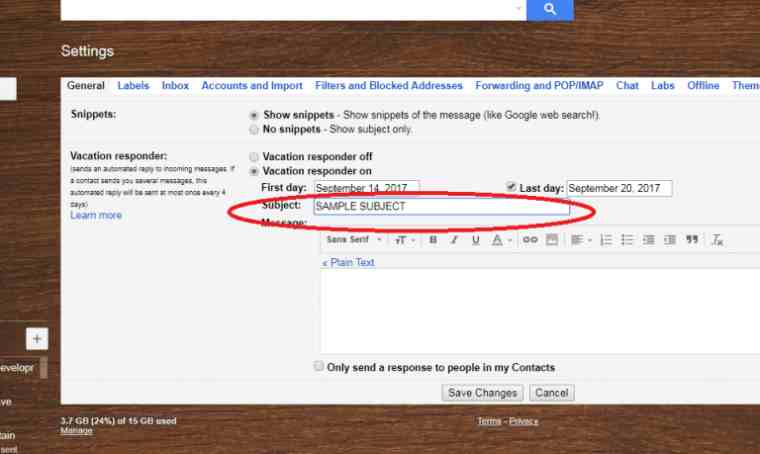 set gmail subject
