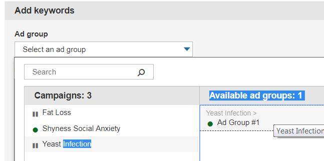 Select an ad group