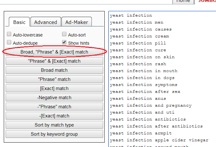 jumbo keywords