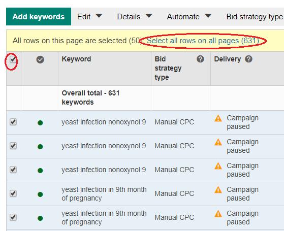 select all keywords