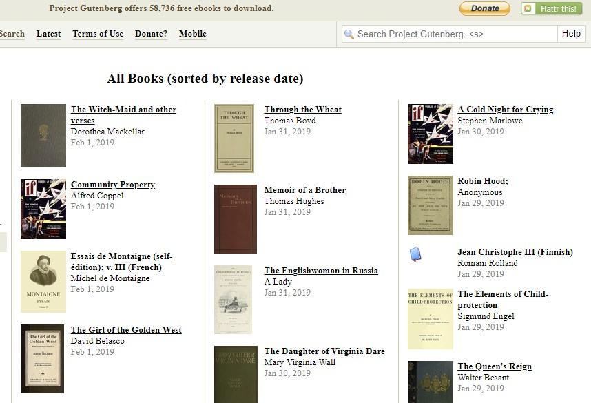 read free books online project gutenberg